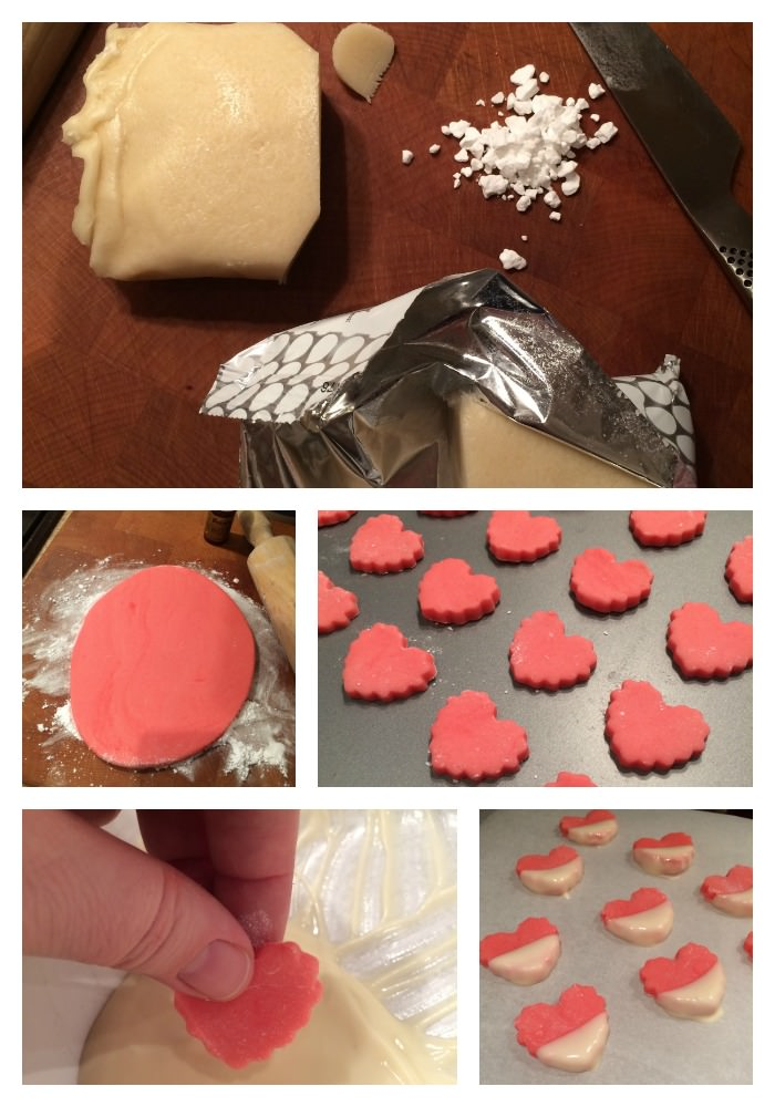 Marzipan Hearts Dipped In White Chocolate The