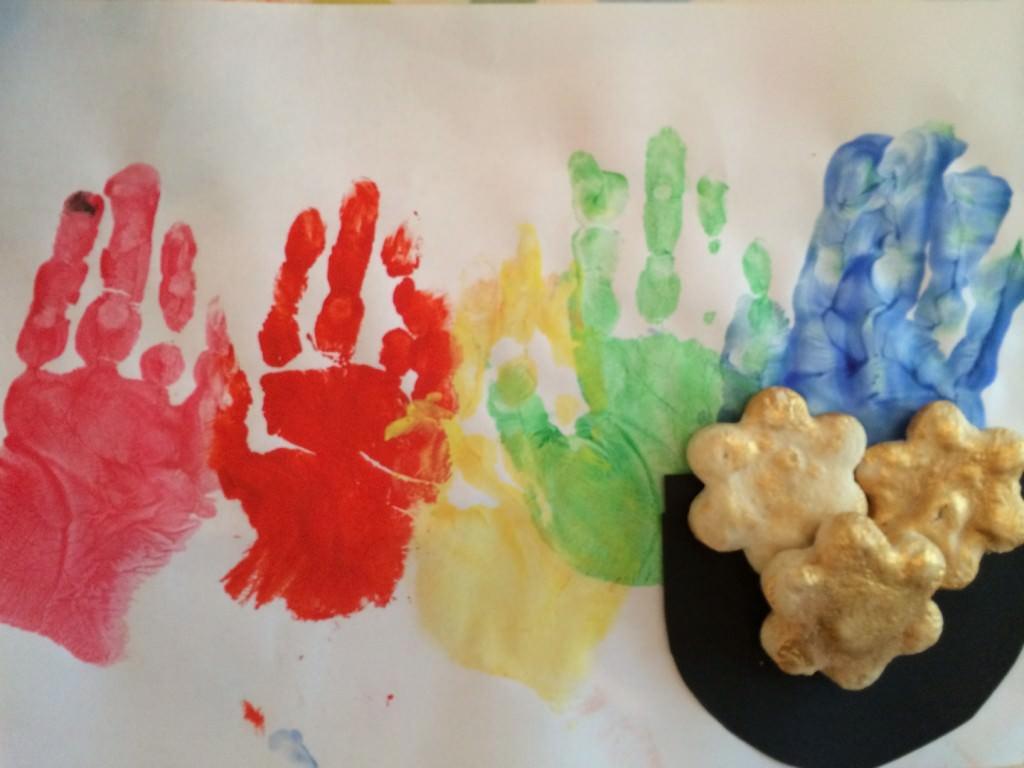rainbow handprints and leprechaun gold