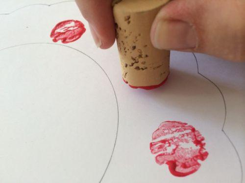 cork print apple wreath