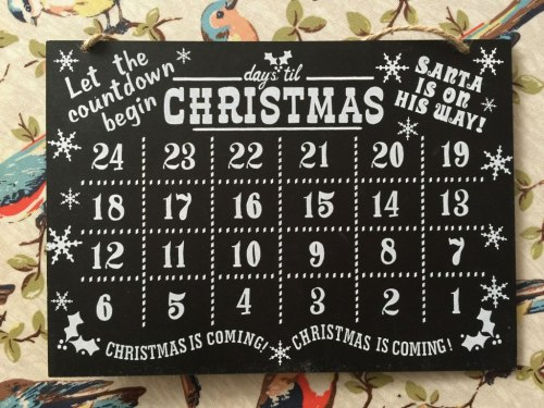 Christmas countdown blackboard