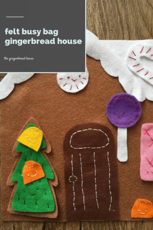 felt busy bag gingerbread house