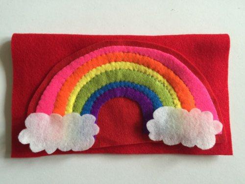 felt rainbow needle case