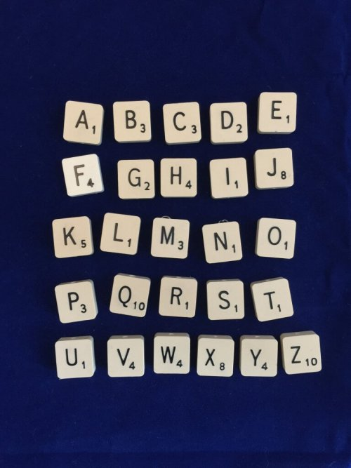 alphabet of Scrabble tiles