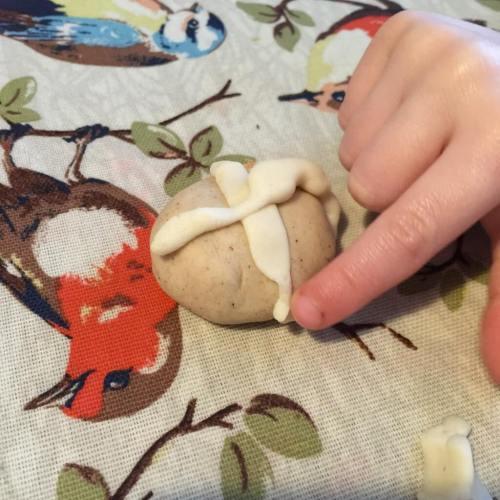 play dough hot cross bun