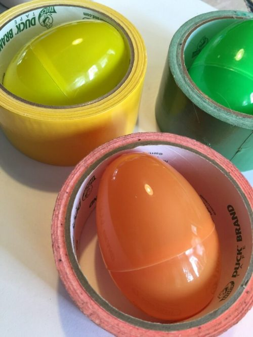 plastic eggs and Duck Tape