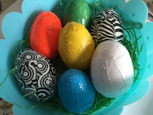 duck tape covered Easter eggs