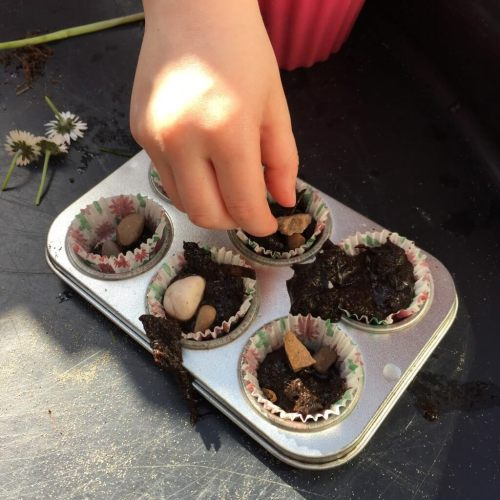 mud cakes for our fairy garden