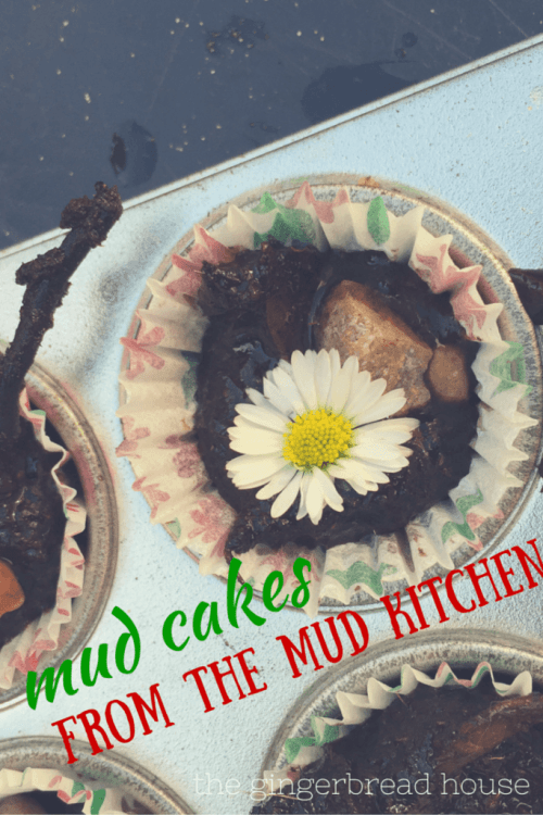 mud cakes from the mud kitchen - the gingerbread house