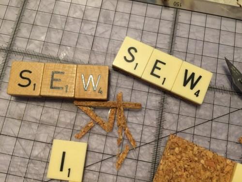 Scrabble tile badge