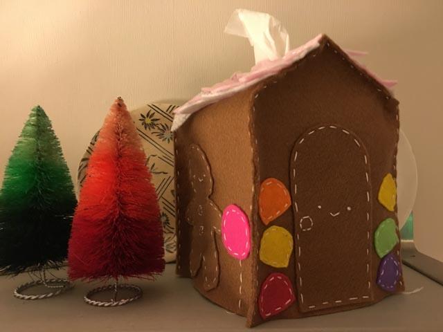 felt gingerbread house tissue box cover