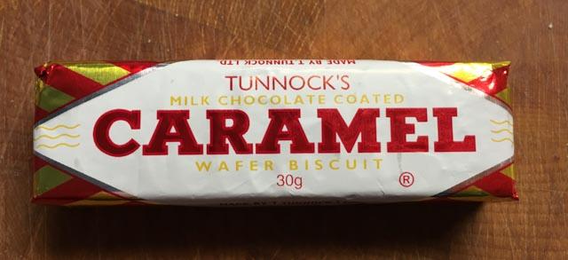 Tunnocks Caramel Wafer  bar in wrapper