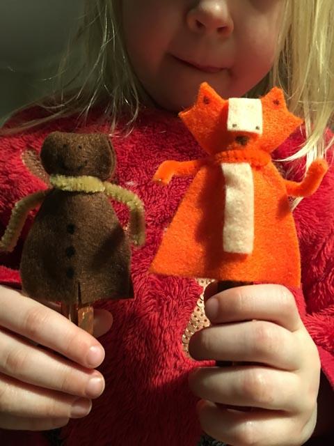 gingerbread boy and fox peg doll