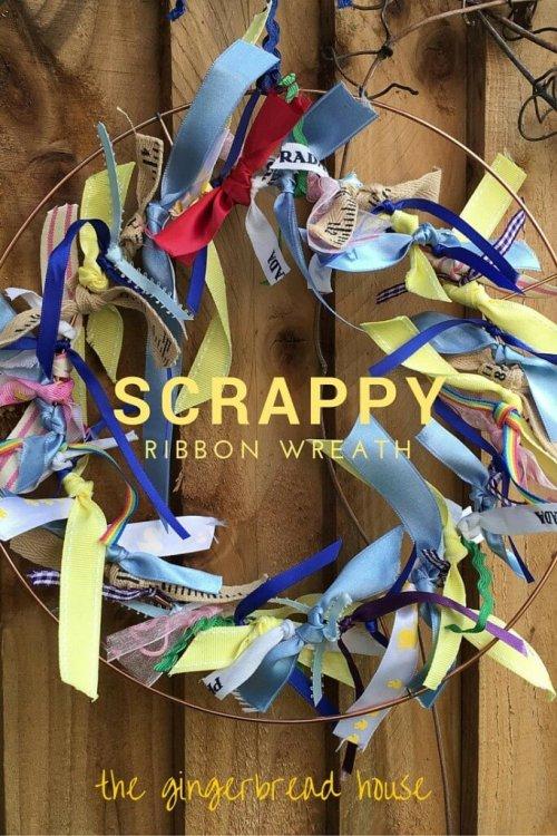 Simple scrappy ribbon wreath