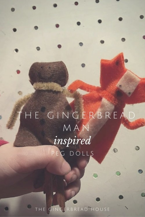 The Gingerbread Man inspired peg dolls