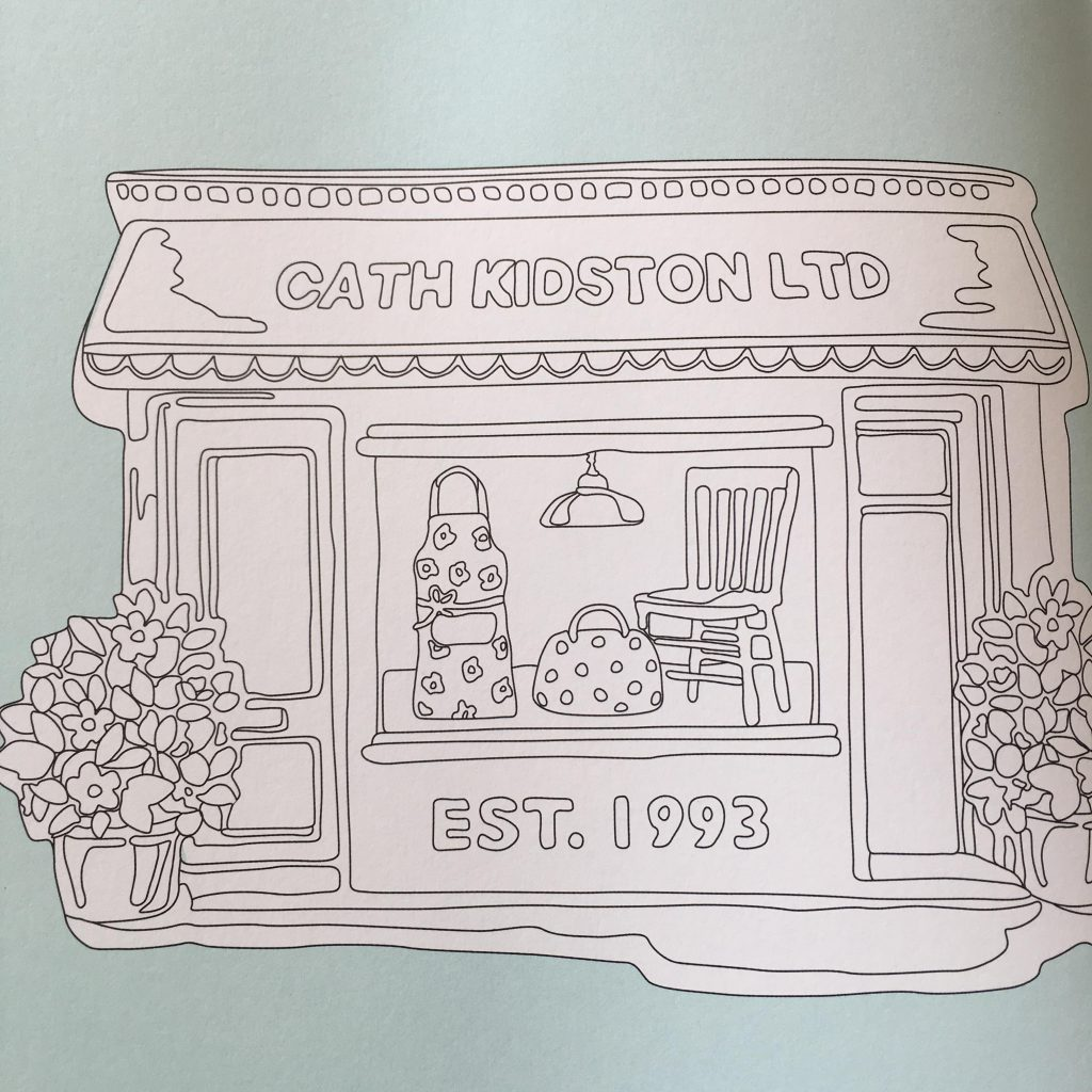 uncoloured page from The Cath Kidston Colouring Book