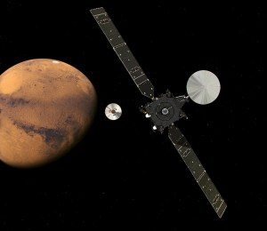 An artistic rendering of the ExoMars Trace Gas Orbiter and the Schiaparelli lander, approaching the Red Planet. Image Credit: European Space Agency