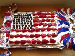 4th of July Wafer Torte with Strawberries and Boysenberries