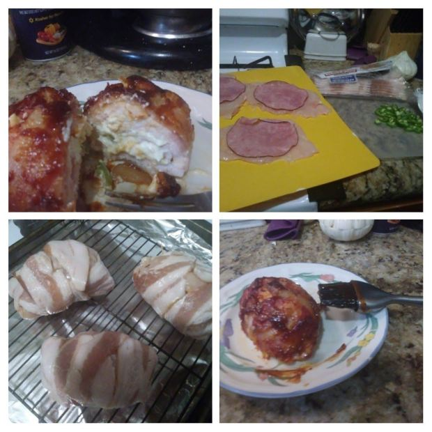 Bacon Wrapped Spicy Ham Roll Stuffed Chicken