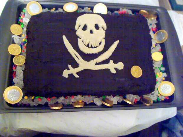 Jolly Roger Pirate Chocolate Cake