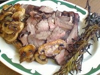 London Broil with Rosemary and Grilled Mushrooms and Shallots