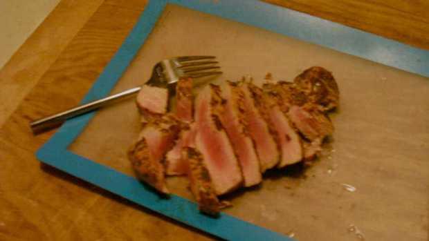 Broiled Ahi Tuna with Blood Orange Balsamic Reduction