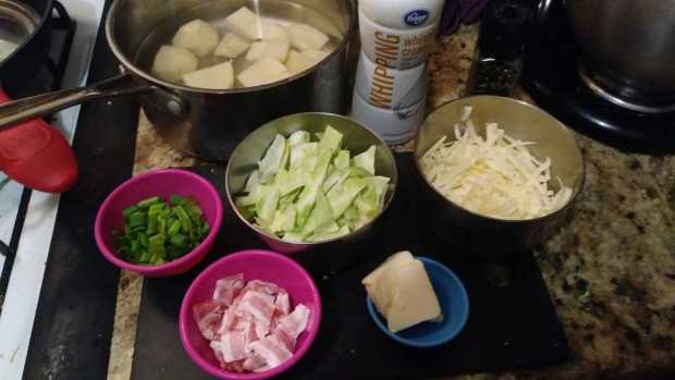 Colcannon with Bacon and White Cheddar Mise en Place