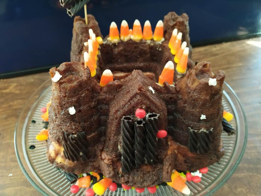 Haunted Halloween Pumpkin Fortress Cake