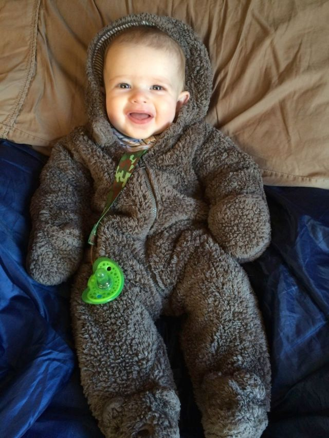It's the desert! So while days were sunny and warm, overnight and early mornings were nippy, but little Henry was a cozy little bear.