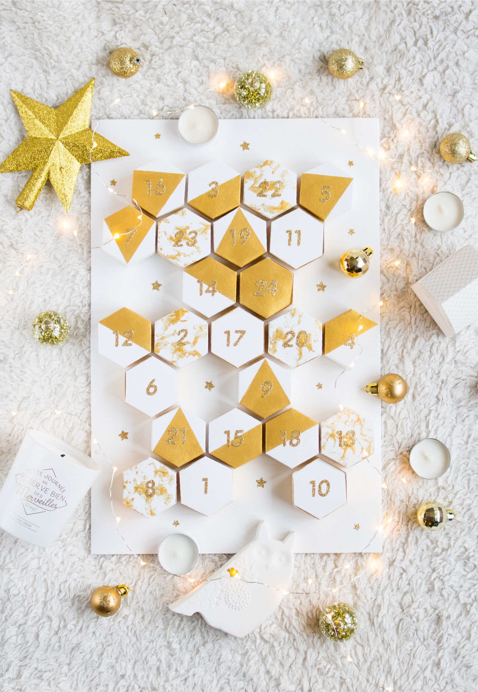DIY CALENDRIER DE L'AVENT GRAPHIQUE & GOLD