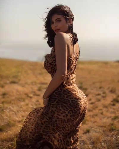 Kylie Jenner in a Leopard Print Dress