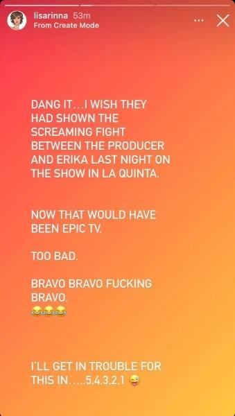 Lisa Rinna IG Erika Jayne screaming match with producer