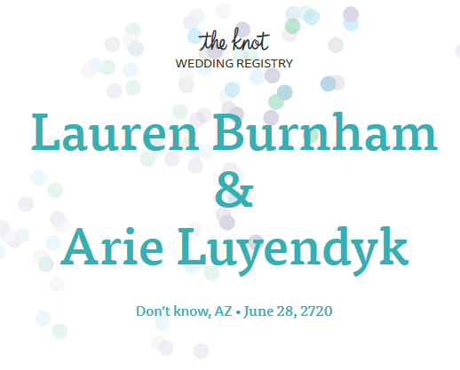 Arie Luyendyk Jr. and Lauren Burnham Registry