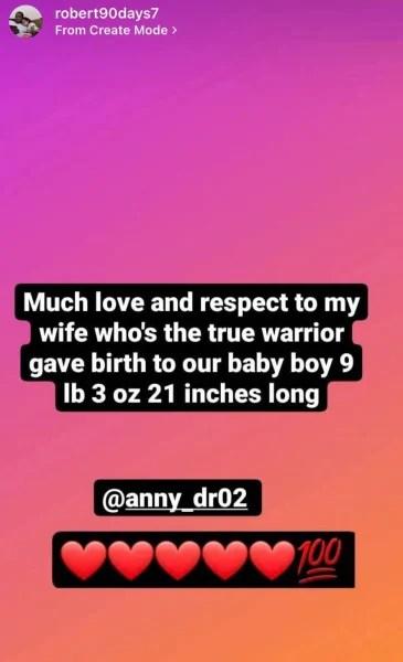 Robert Springs IG congratulates Anny Francisco on Baby #2