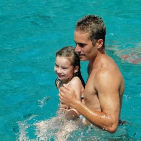 Meadow Walker and Paul Walker in the Pool