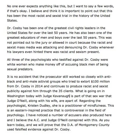 Bill Cosby statement