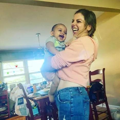 Ariela Weinberg Plays with Baby Aviel