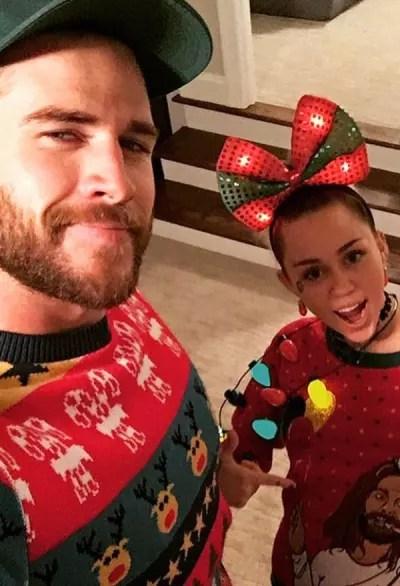 Liam Hemsworth and Miley Cyrus on Christmas