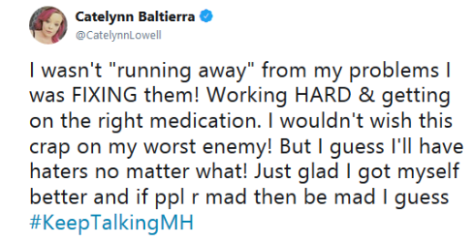 Catelynn Lowell Rehab Tweet 2