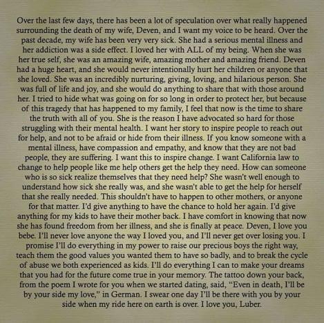 Jonathan Davis IG statement on wife's death