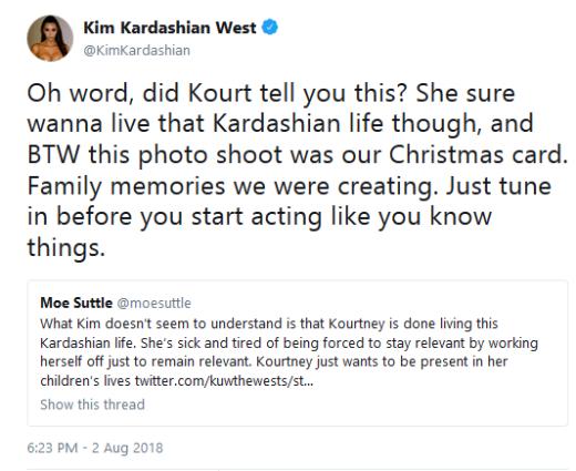 """Kim Kardashian """"Oh Word"""" Tweet about Kourtney"""