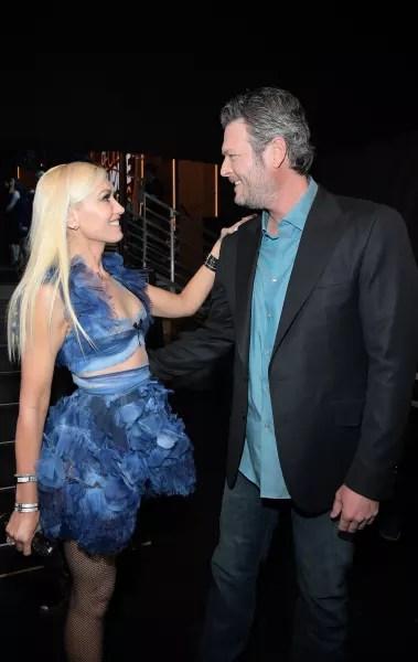 Gwen Stefani in Blue with Blake Shelton