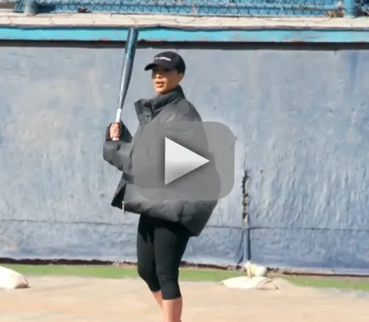 Kris jenner gets injured playing the lamest game of baseball eve