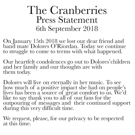 cranberries statement