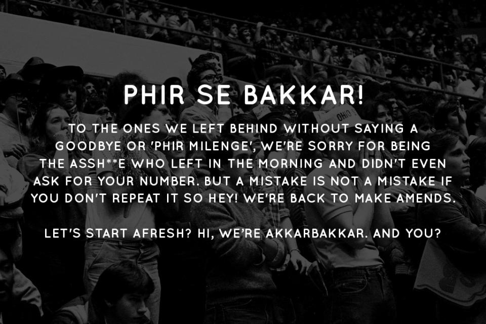 Phir Se Bakkar! Re-launch day poster. ©AkkarBakkar