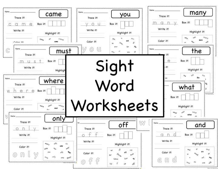 Sight Word Worksheets: Fry Word Lists