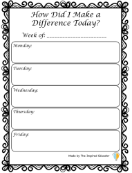 How I Made a Difference Journal page
