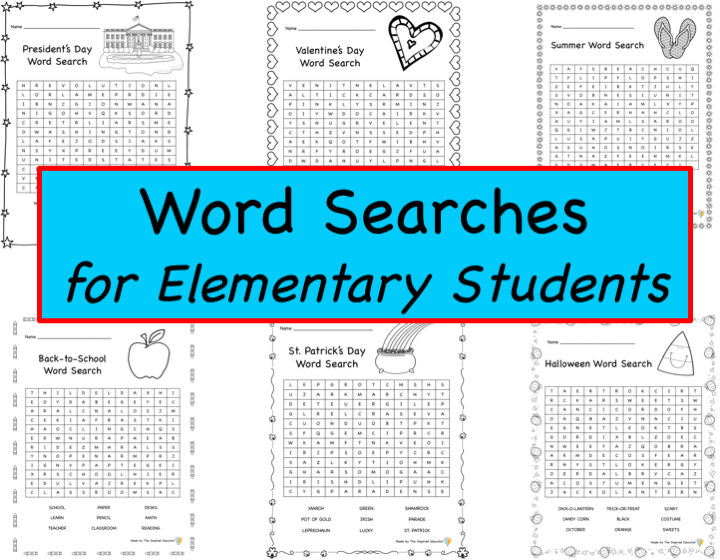 Word Searches for Elementary Students