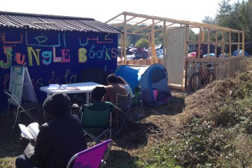 Calais Jungle camp library refugees