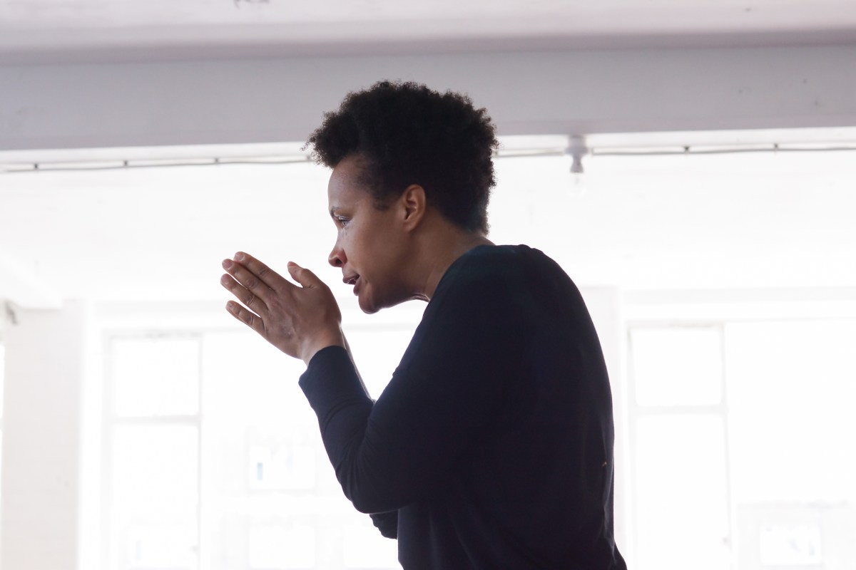 Golda Rosheuvel in rehearsal for Now We Are Here at the Young Vic © Leon Puplett