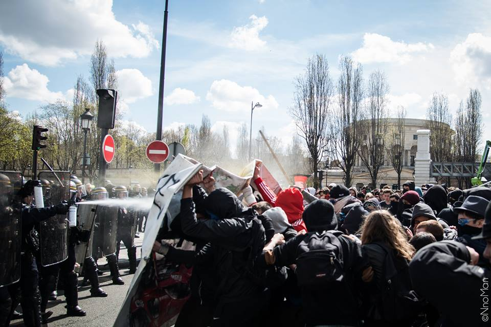 Water cannon deployed on high school students during a demonstration, Stalingrad Square, Paris. ©NnoMan